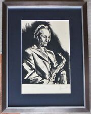 """RONNIE WOOD """"Charlie with Saxophone"""" (Watts) HAND SIGNED FRAMED ROLLING STONES"""