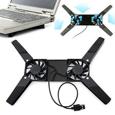 Foldable 2 Fans Laptop Cooling Cooler Pad Stand USB Powered For Laptop Notebook