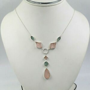 """Solid 925 Sterling Silver Jewelry Rose Quartz Aquamarine 22+2"""" Necklace SN1942"""
