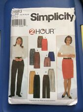 Vintage New Ff Simplicity 7693 Misses Skirt And Pants Easy Size 12,14,16,18