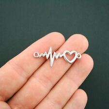 2 Heartbeat Connector Charms Antique Silver Tone Pulse - SC5533