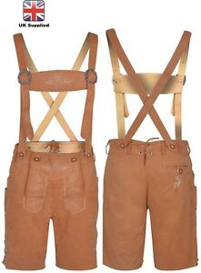 Mens Bavarian LEDERHOSEN Synthetic Leather  with Matching Suspenders Shorts