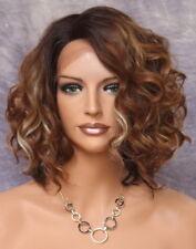 Human Hair Blend Lace Front Wig Bob Curly Auburn Carmel blonde Heat OK KRN 7003