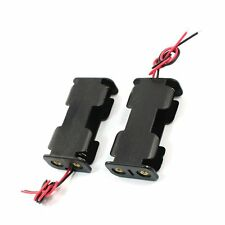 2Pcs Double Side Opening Frame 2 x 1.5V AA Battery Case Holder Black LW