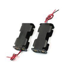 2Pcs Double Side Opening Frame 2 x 1.5V AA Battery Case Holder Black LW
