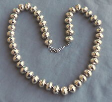 """Heavy Navajo Hand Made Sterling Silver Stamped Bead Necklace 22 3/4"""" ~ New"""