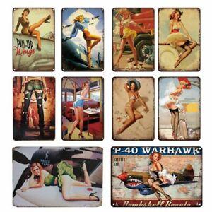 Vintage Poster Tin Sign Pinup Girl Room Bar Decor Metal Car Wall Sticker Decor