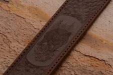100%  Genuine Leather Rifle or Shotgun Sling with Embossed Wild Boar