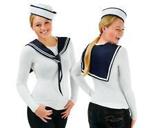 Ladies Sailor Girl Hat Scarf Set Girls Doughboy Instant Fancy Dress Costume