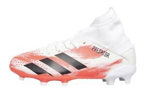 BNIB Boys Adidas Predator Firm Ground Sock Football Boots White Pop & Black Sz 5