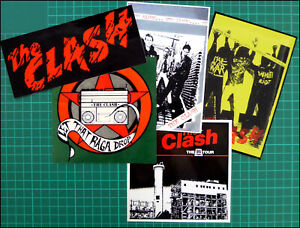 THE CLASH, Set of 5 Large Glossy Vinyl Stickers, White Riot, Raga Drop, Logo etc