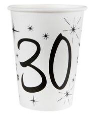 30. Geburtstag Pappbecher / Partybecher / Schwarz & Weiß