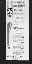 CUNARD WHITE STAR LINE 1934 S.S. SAMARIA NEW YORK MEDITERRANEAN J.BORING AD