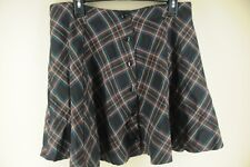 Women's Purple Plaid Polyester Viscose Button Front Skirt Size 5