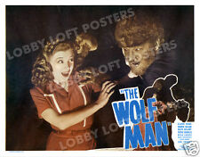 THE WOLF MAN LOBBY SCENE CARD POSTER 1948-R LON CHANEY JR EVELYN ANKERS