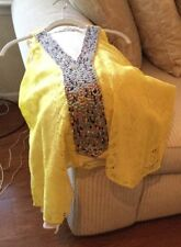 T BAGS LOS ANGELES BEADED  and LACE LINED TRAPEZE TOP Yellow/Gold Size S