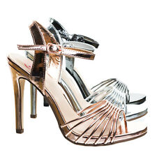 Telling Metallic High Heel Dress Sandal W Cage Strap. Women Evening Party Shoe Penny 9 Gold
