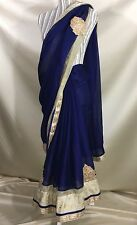 Chiffon Navy Blue with Gold Trim Adjustable Waist Saree NWT