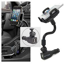 Dual 2 USB Ports Car Cigarette Lighter Charger Mount Holder For Cell Phone GPS