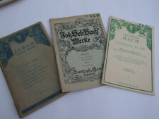 3 MUSIC SHEETS J.S. BACH CHORAL WORKS CANTATA BOOKS VOCAL FAMOUS VINTAGE RARE