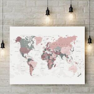 World Map Canvas Print Blush Pink & Hunter Green Map of the World Poster Decor