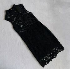 Look Of The Day Womens Size10 Black Crochet Evening Wedding Mini Dress High Neck