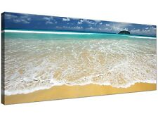 Blue Large Canvas Wall Art of Beach Seascape  - 120cm x 50cm - 1043