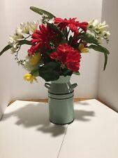 Silk Floral Arrangement In A Tin Pitcher Farmhouse Style