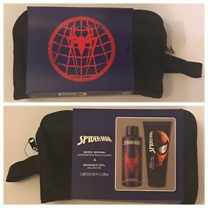 RARE Marvel Comics SPIDER MAN Toiletry DOPP Bag Set: Body Spray & Shower Gel!