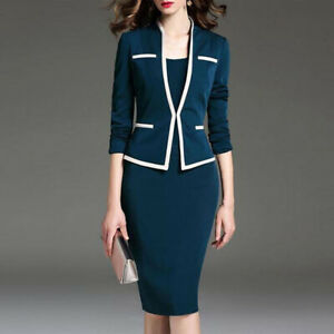 Women Slim Fit OL Long Sleeve High Waist Lapel Collar Blazer Suit Coat Skirt D