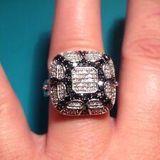 Affinity Diamond Sterling Silver 1.00 cttw White & Black Diamond Art Deco Ring