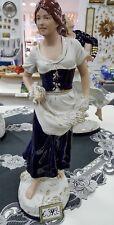 Porzellan Figur royal dux Frau mit Korn kobaltblau weiß