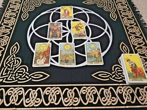 """Altar Cloth """"Seed Of Life"""" Pagan Wicca Spells Rituals 100% Cotton 60x60 cm"""