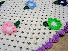 "Vintage Handmade Crochet GRANNY Throw Blanket 53"" x 48"" 3D Flowers"