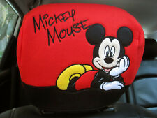 Mickey Mouse Disney Car Accessory #C 1 pc Head Rest Head Seat Covers Red,Black