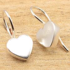 "Pretty LOVE HEART Little Earrings 0.4"" ! 925 Silver Plated Over Copper"
