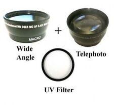 Wide Lens + Tele Lens + UV for JVC GR-DF450 GR-DF470 GR-SXM38 GZ-HD300 GZ-HD320