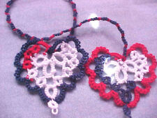 Tatted Bookmark USA Heart to Heart or Hair Braid  Wraps Tatting By Dove Country