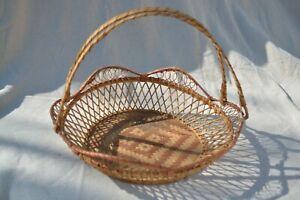 Rattan Wicker Woven Brown Basket with Handles Diamond Aztec Design