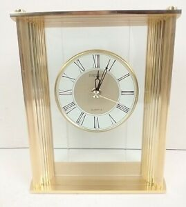 SEIKO Vintage Quartz Gold Glass Table Top Clock QQZ014G
