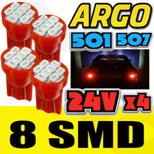 4 X RED 24V CAPLESS MARKER LIGHT 505 501 W3W 8 SMD T10 WEDGE BULBS HGV TRUCK