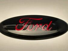 "2004-2015 FORD EDGE,F-150 CUSTOM PAINT EMBLEM,9"" black race red logo"