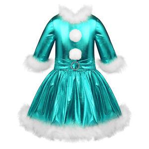 Kids Girls Christmas Clothes Metallic Dress DanceWear Figure Ice Skating Costume