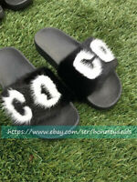 Black White Real Mink Fur Slides Slippers Sandals Shoes Sliders Initial Letter