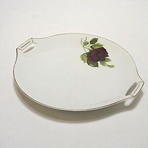 20er Jahre Fraureuth Platte Fleischplatte Rosenzweig Rose 27,5 cm