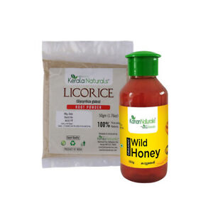 Licorice Root Powder (50 g) and Organic Wild Honey (150 g) Pure & Natural Combo