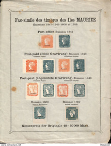 MAURITIUS 1847 - 1859 FAC-SIMILE STAMPS ON ORIGINAL OLD PAGE.SCARCE ITEM. A786