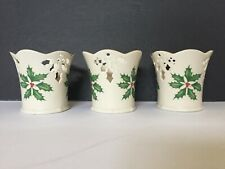 """Lenox """"Holiday� Pierced Votive Candle Holders with Holly & Berries design"""