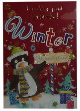 (167) singolo cartolina di Natale-Nonno-Pinguino
