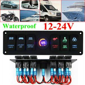 12V/24V Car Rocker Switch Panel USB Charger 6 GANG Circuit Breaker LED Voltmeter